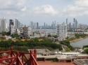Blick von der Festung auf die Bucht zwischen Bocagrande und Manga - Cartagena de Indias, Kolumbien 2016