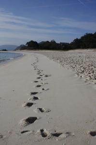 Erste Spuren im Sand - Islas des Cies
