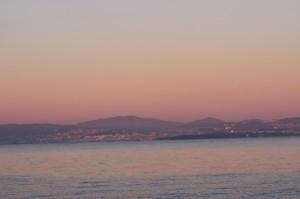 Die Ria de Vigo im Sonnenuntergang