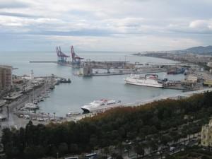Der Hafen von Malaga - Blick von der Festung aus