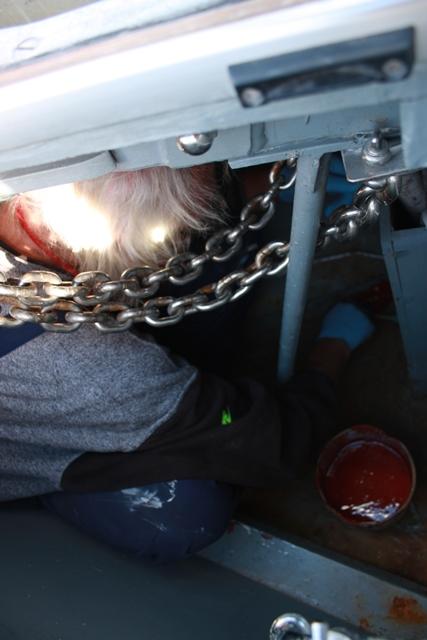 Der Skipper hat sich kunstvoll im Ankerkasten zusammen gefaltet