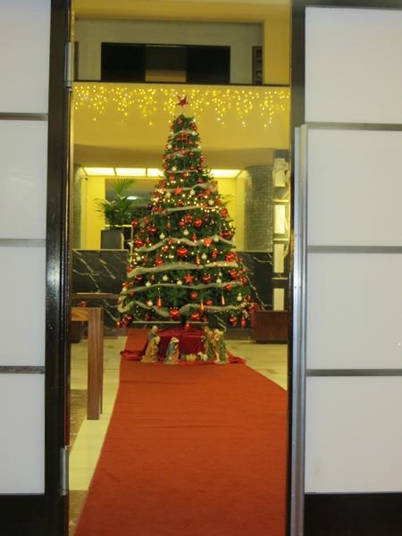 Weihnachtsbaum im Entree des Casino von Santa Cruz