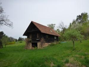 Uriges Holzhaus inmitten der Wiesen
