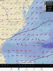 Ausschnitt aus Pocket-grib. Mit dieser App haben wir für 8 Tage unsere Wind- und Wellenvorhersage bekommen, absolut zuverlässig!