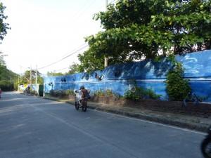 Hinter dieser kunstvoll bemalten Mauer (Hauptthema ist die black crab) verbirgt sich der Insel-Schrottplatz